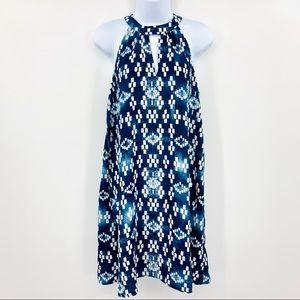 AQUA M sleeveless halter geometric tunic dress